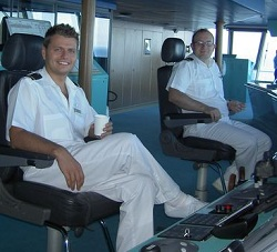 Cruise ship 3rd Officer on the Bridge
