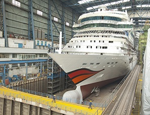 Aida Cruises' AidaStella in the shipyard
