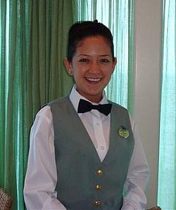 Cruise ship buffet stewardess