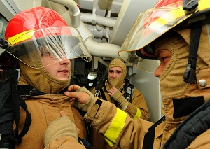 Cruise ship fire fighting team