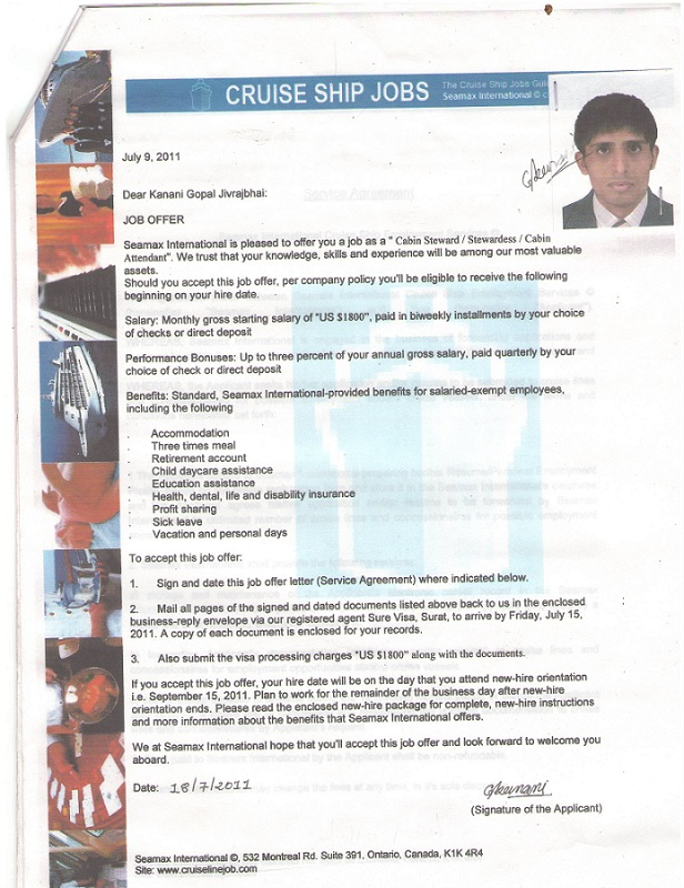 employment offer letter template canada