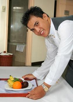 Cruise ship room service attendant