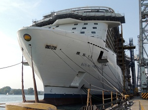 Princess Cruises Royal Princess at the shipyard - another 2000 jobs aboard Princess ships