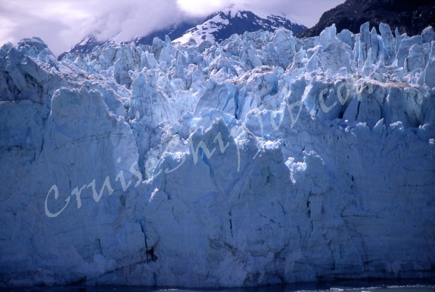 Cruise ship crew member close-up photo of a Glacier in Glacier Bay National Park, Alaska