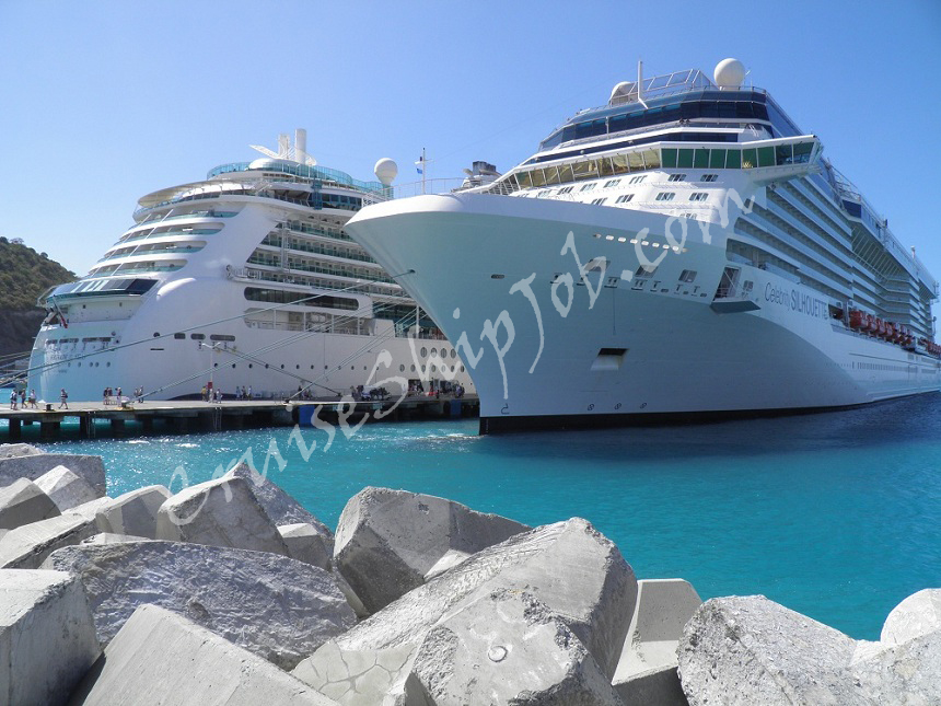 Hired cruise job seekers photos - Royal Caribbean International and Celebrity Cruises ships berthed at the pier in St. Maarten