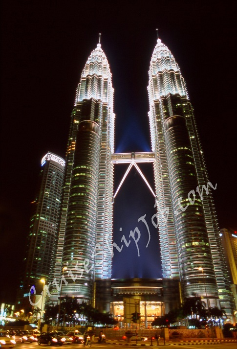 A Night Shot Of Petronas Twin Towers In Kuala Lumpur Taken By Cunard Line Crew Member