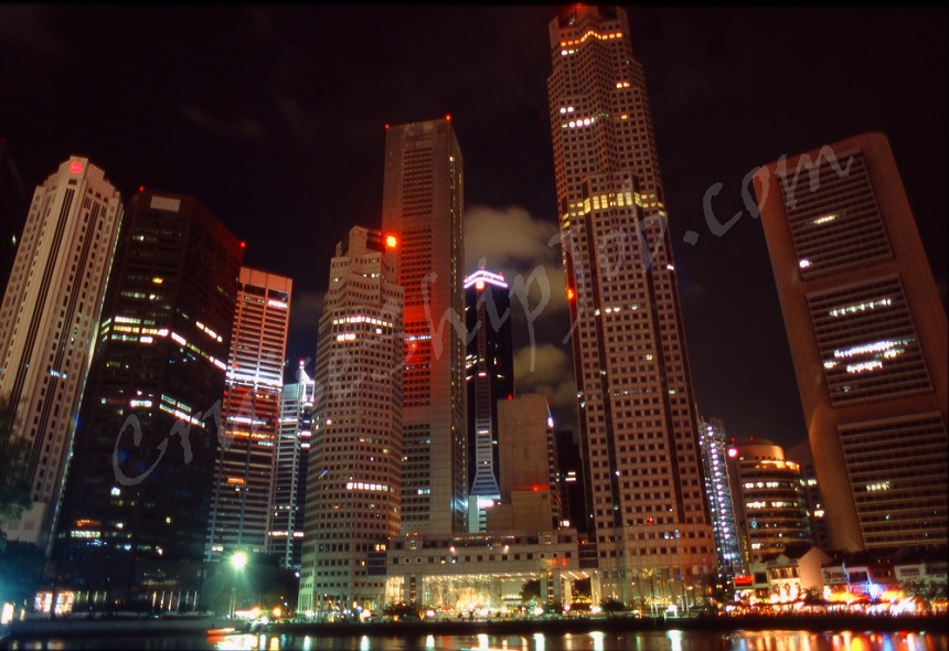 A great night photo of Singapore skyline taken by a hired cruise ship  job seeker